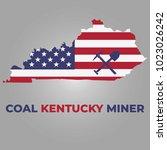 kentucky map with coal miner... | Shutterstock .eps vector #1023026242