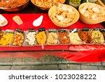 delicious garlic  spread and... | Shutterstock . vector #1023028222