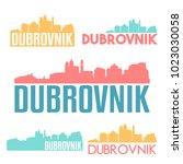 dubrovnik croatia flat icon... | Shutterstock .eps vector #1023030058
