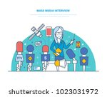 mass media interview. live... | Shutterstock .eps vector #1023031972
