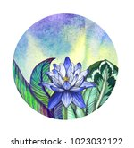 watercolor greeting card with... | Shutterstock . vector #1023032122