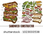 hand drawn vector sandwich with ... | Shutterstock .eps vector #1023033538