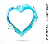 vector blue watercolor frame.... | Shutterstock .eps vector #1023041506