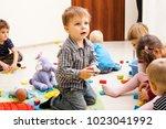 games at the kindergarten | Shutterstock . vector #1023041992