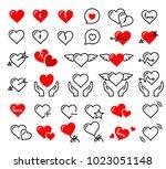 beautiful cute heart icon set... | Shutterstock .eps vector #1023051148