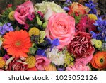mixed flower arrangement ... | Shutterstock . vector #1023052126