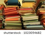 stacked office files  pile of... | Shutterstock . vector #1023054682