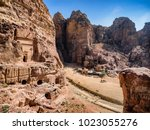 dwellings homes in petra lost... | Shutterstock . vector #1023055276