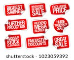 sale stickers set   further... | Shutterstock .eps vector #1023059392