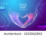 abstract image love shape hands ... | Shutterstock .eps vector #1023062842