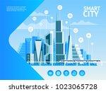 smart city. urban landscape...   Shutterstock .eps vector #1023065728