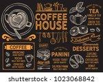 coffee restaurant menu. vector... | Shutterstock .eps vector #1023068842