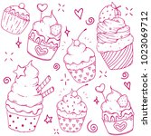 a set of vector doodle cute... | Shutterstock .eps vector #1023069712