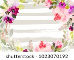 greeting card with watercolor... | Shutterstock . vector #1023070192
