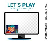 let's play blogger review... | Shutterstock .eps vector #1023071752