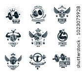 set of vector gym theme emblems ... | Shutterstock .eps vector #1023075928