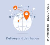 global delivery and... | Shutterstock .eps vector #1023077038