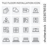 tile floor installation and... | Shutterstock .eps vector #1023078532