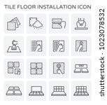 tile floor installation and... | Shutterstock .eps vector #1023078532
