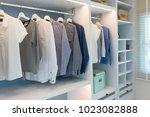 modern wooden wardrobe with... | Shutterstock . vector #1023082888