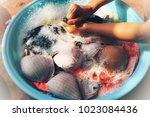 i clean my underwear by hand.... | Shutterstock . vector #1023084436
