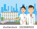 doctor on the background of the ... | Shutterstock .eps vector #1023089032