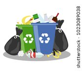 overflowing trash can. tank... | Shutterstock .eps vector #1023089038