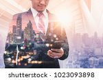 the double exposure image of... | Shutterstock . vector #1023093898