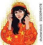 vector beautiful young brunette ... | Shutterstock .eps vector #1023094978