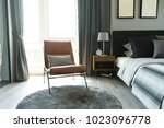 leather armchair and gray...   Shutterstock . vector #1023096778