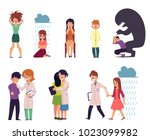 vector flat mental illness ...   Shutterstock .eps vector #1023099982