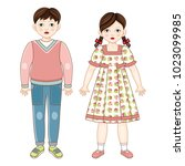 vector flat brunette boy and... | Shutterstock .eps vector #1023099985