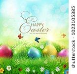 vector illustration. easter... | Shutterstock .eps vector #1023105385