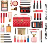 vector makeup cosmetics with... | Shutterstock .eps vector #1023110635