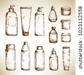hand drawn cosmetic container...   Shutterstock .eps vector #1023112558