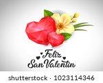 feliz san valentin lettering... | Shutterstock .eps vector #1023114346