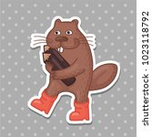 cute beaver vector sticker | Shutterstock .eps vector #1023118792