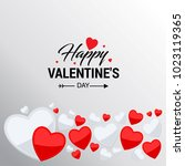 happy valentine's day card with ... | Shutterstock .eps vector #1023119365