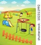 illustration of children in the ... | Shutterstock . vector #102311992