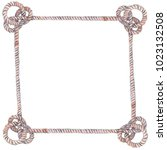 decorative frame with sea knots ... | Shutterstock . vector #1023132508