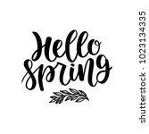 hello spring postcard. seasonal ... | Shutterstock .eps vector #1023134335