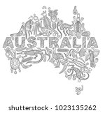 stylized map of australia.... | Shutterstock .eps vector #1023135262