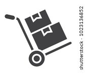 hand truck with cardboard boxes ... | Shutterstock .eps vector #1023136852
