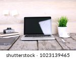 stylish workspace with computer ...   Shutterstock . vector #1023139465