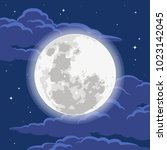 moon and clouds | Shutterstock .eps vector #1023142045