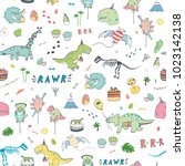 dinosaur party birthday...   Shutterstock .eps vector #1023142138