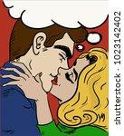 kiss pop art. man and woman... | Shutterstock .eps vector #1023142402