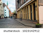 empty streets of the old town... | Shutterstock . vector #1023142912