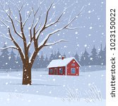 winter landscape with red house | Shutterstock .eps vector #1023150022
