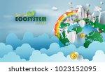 paper art of bitcoin ecosystem... | Shutterstock .eps vector #1023152095